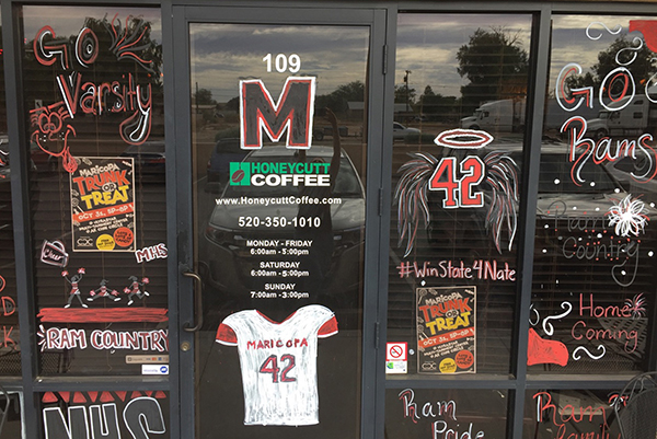 Honeycutt Coffee's main store won the MHS Homecoming Paint the Town Red contest. Photo by Celina Shepherd