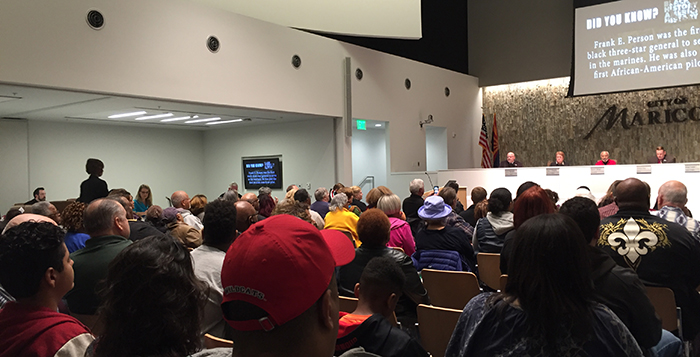 Council chambers were packed for the proclamation and celebration. Photo by Adam Wolfe