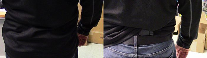 Side-by-side view of how a holster in the small of the back is easily out of sight. Photos by Adam Wolfe
