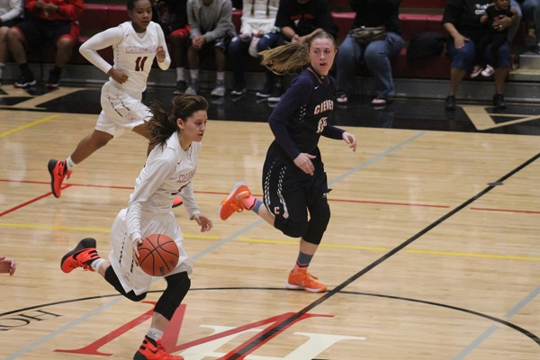 Senior Danae Ruiz brings the ball downcourt while taking charge in the second half. Photo by Devin Carson