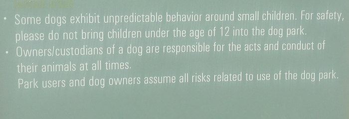 A portion of the sign at the Copper Sky Dog Park.