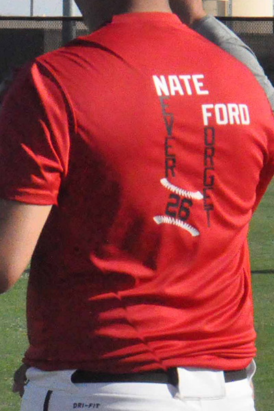 The MHS baseball team is honoring former teammate Nate Ford, who would have been a senior this season. Photo by Raquel Hendrickson