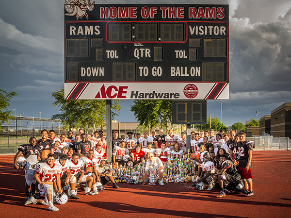 The Rams display the nonperishable food items the collected in Maricopa for the food bank. Photo by William Lange