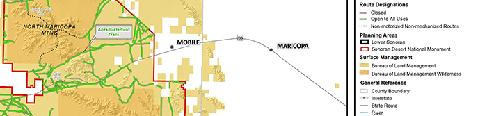 The areas that are part of the environmental assessment are between Maricopa and Gila Bend.