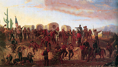 Painting by George M. Ottinger of the Mormon Battalion at the Gila River in 1846.