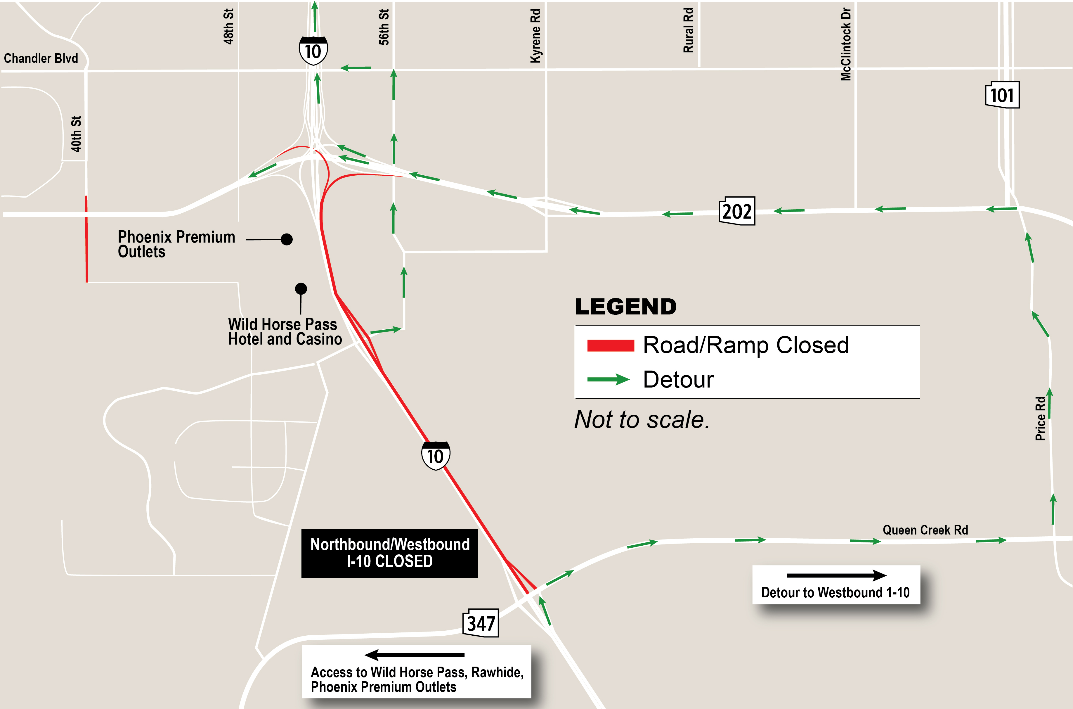 Map 347.Westbound I 10 Closed Between Sr 347 And Loop 202 This Weekend