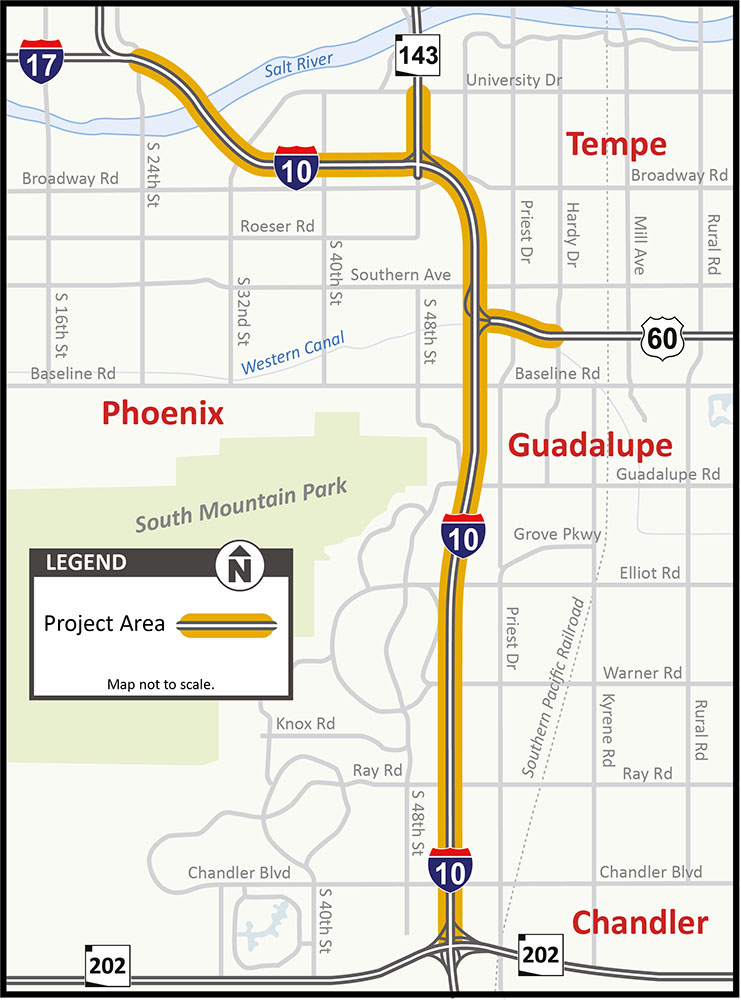 ADOT looks at improving 11 miles of I-10 | InMaricopa on indot state map, tdot state map, caltrans state map,