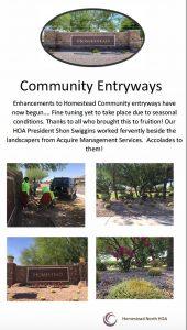 Homestead North newsletter